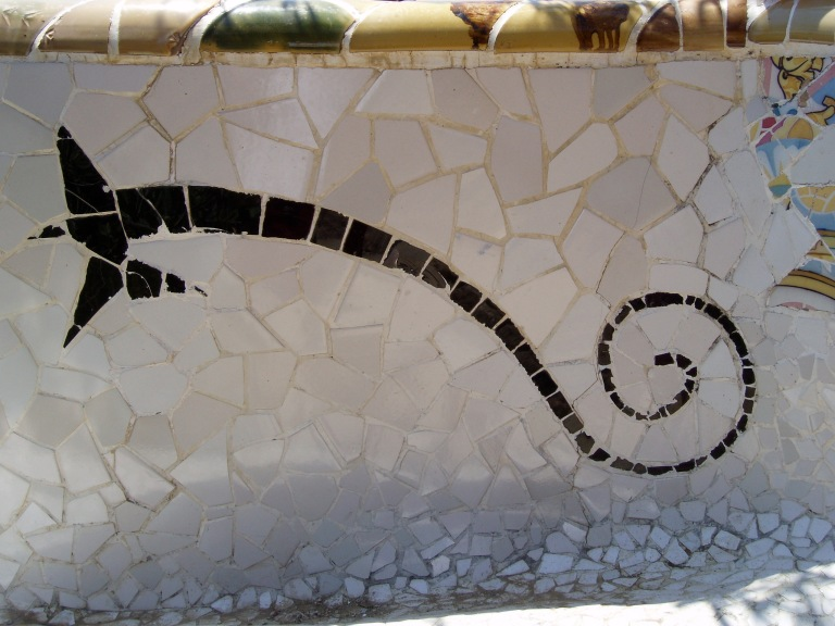 Jujol's design in Gaudi's serpentine bench, Parc Guell, Barcelona