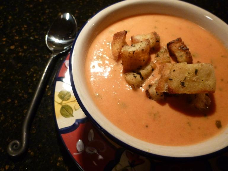 Creamy tomato basil soup.