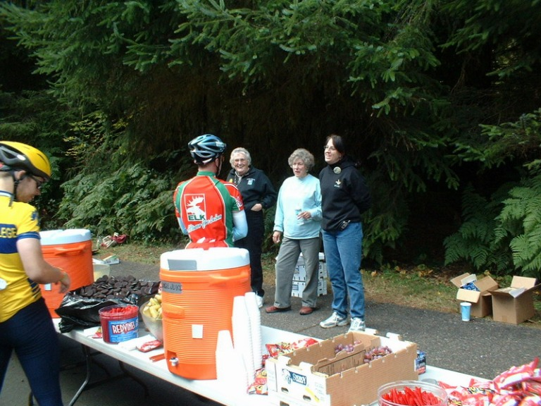Bob chats with locals at one of the rest stops.
